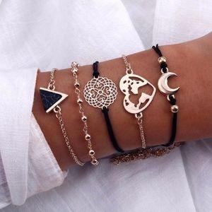 NEW! 5-Piece Bracelet Set Moon Heart World